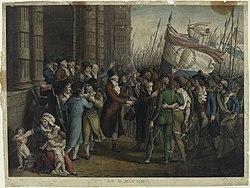 gravure coloriée d'époque. À gauche, les députés Girondins tentent de sortir des bâtiments de la Convention. À droite, un groupe fortement armé de Sans-Culottes les en empêche