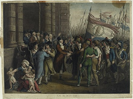 The uprising of the Parisian sans-culottes from 31 May to 2 June 1793. The scene takes place in front of the Deputies Chamber in the Tuileries. The depiction shows Marie-Jean Herault de Sechelles and Pierre Victurnien Vergniaud. The elimination of Girondins.jpg