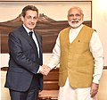 The former President of France, Mr. Nicolas Sarkozy calls on the Prime Minister, Shri Narendra Modi, in New Delhi on April 13, 2016 (1).jpg