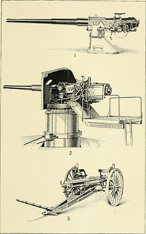 5-inch gun M1897 - 5-inch gun M1897 on balanced pillar mount M1896 (middle).