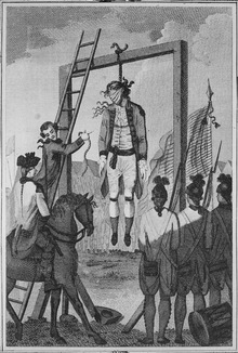 A depiction of the military execution of John Andre, who is blindfolded and hanging from a gallows