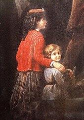 Una porzione di un dipinto che mostra una giovane ragazza in una giacca rossa e una gonna nera a pieghe con il braccio drappeggiato sopra la spalla di un giovane ragazzo, che è vestito con una tunica blu e pantaloni neri e guarda da sopra la spalla lo spettatore.