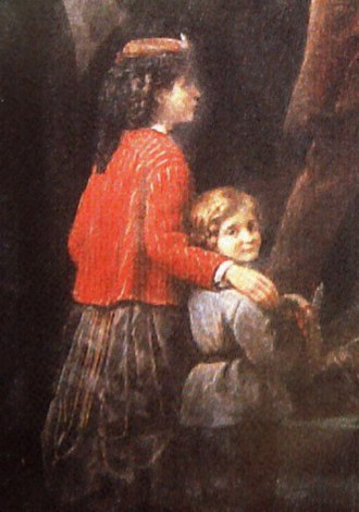 Pierre de Coubertin - Pierre de Coubertin as a child (right), with one of his sisters, painted by his father Charles Louis de Frédy, Baron de Coubertin (detail of Le Départ, 1869).