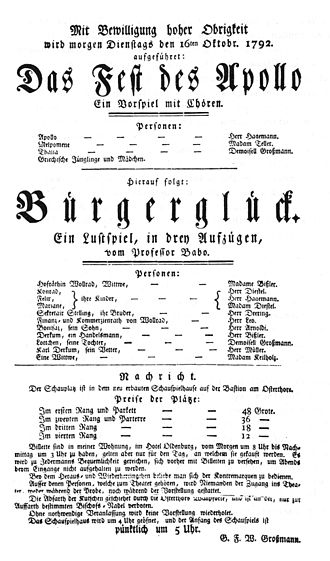 Joseph Marius Babo - Playbill for the debut of Bürgerglück on the occasion of the dedication of the Bremer Stadttheater (1792)