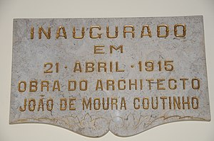 Theatre Circo - The inauguration plaque dedicated to João de Moura Coutinho, principal architect