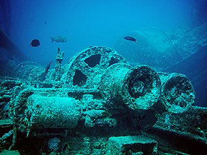 Ras Muhammad National Park - Winch parts visible on the wreck of the SS Thistlegorm, which sunk off the coast of Ras Muhammad