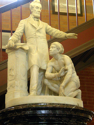Emancipation Memorial - This early small demonstration version was purchased from Ball and brought to Methuen, Massachusetts by Edward Francis Searles; it rests in the Town Hall atrium.