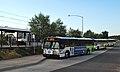 Three C-Tran buses and MAX train at Delta Park station (2013).jpg