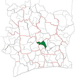 Location in Ivory Coast. Tiébissou Department has had these boundaries since 2005.