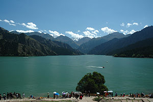 Heavenly Lake of Tianshan - Bogda Peak in the distance (August 2005)