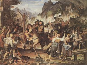 Andreas Hofer - Painting depicting Hofer and his troops liberating his people from foreign occupation
