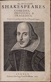 Title page of the First Folio, 1623. Copper engraving of Shakespeare by Martin Droeshout. (Source: Wikimedia)