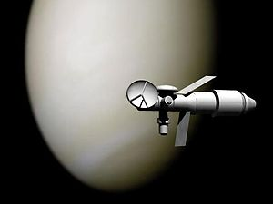 TMK - Artist's depiction of TMK-MAVR on a Venus flyby
