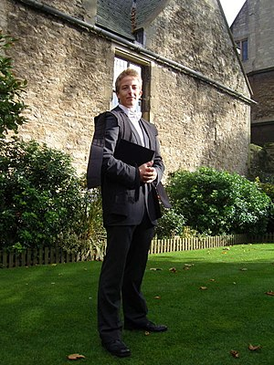 Academic dress of the University of Oxford - An undergraduate student at the University of Oxford in sub fusc for Matriculation in Michaelmas