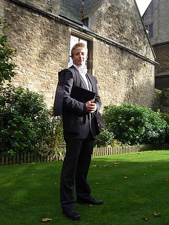 An undergraduate student at the University of Oxford in subfusc for matriculation Toby Virno sub fusc.JPG