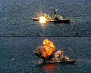 USS Agerholm - Image: Tomahawk missile sinking USS Agerholm (DD 826) 1982