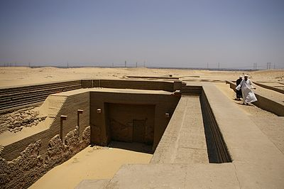 "The reconstructed entrance to ""Tomb T"" at Umm el-Qa'ab in Abydos, the tomb of Den Tomb of Den 1.jpg"
