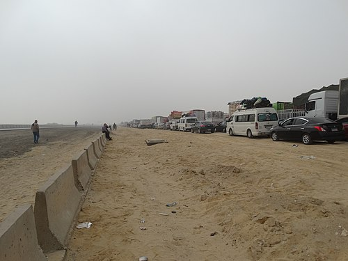 Traffic jam - traffic on the Cairo-Assiut highway is blocked due to fog