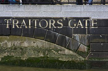 A view of the bricked-up Traitors' Gate entran...