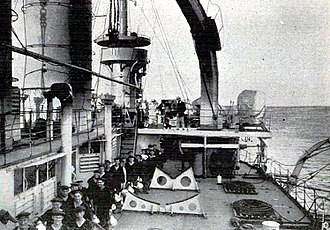 SMS Elsass - Tea dispensing on the ship lying in front of Travemünde (1908)