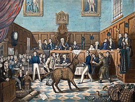 A painting of the Trial of Bill Burns, showing Richard Martin with the donkey in an astonished courtroom, leading to the world's first known conviction for animal cruelty, a story that delighted London's newspapers and music halls.