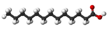 Ball-and-sitck model of tridecylic acid