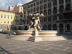 Piazza Vittorio Veneto in Trieste, housing the provincial seat in the palace at left.