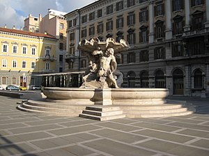 Province of Trieste - Piazza Vittorio Veneto in Trieste, housing the provincial seat in the palace at left.