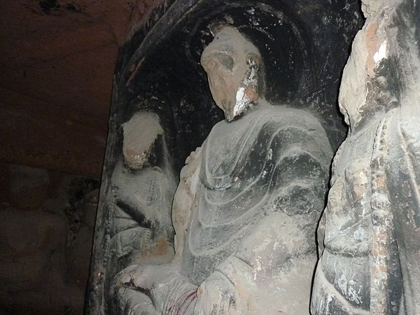 Buddha statues were destroyed during the Cultural Revolution as were ancient Buddhist texts and whole Buddhist monasteries. Trip to Ningxia and Gansu.jpg