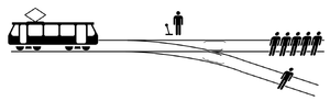 Trolley problem - The trolley problem: should you pull the lever to divert the runaway trolley onto the side track?