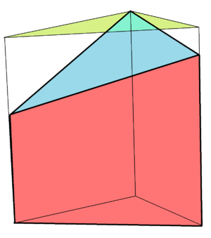 Prism (geometry) - A truncated triangular prism with its top face truncated at an oblique angle