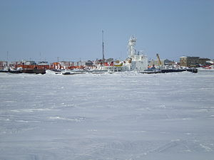 Northern Transportation Company - NTCL tug and barges overwintering in Cambridge Bay after the annual sealift
