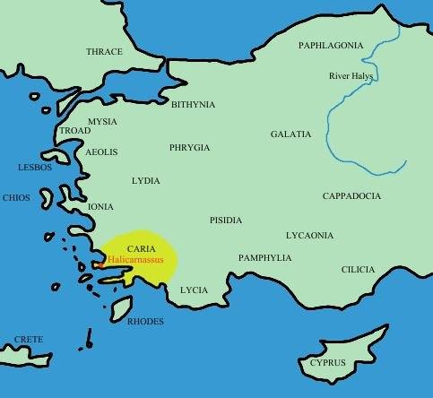 Turkey ancient region map caria