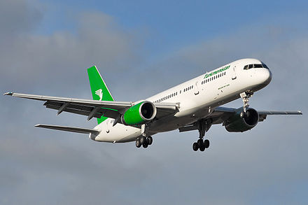The narrow body Boeing 757 replaced the 727. This example is in Turkmenistan Airlines livery. Turkmenistan Boeing 757-200 Beltyukov-1.jpg
