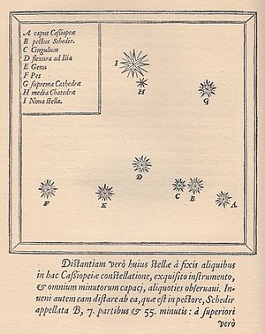 Tycho Brahe - Star map of the constellation Cassiopeia showing the position of the supernova of 1572 (the topmost star, labelled I); from Tycho Brahe's De nova stella