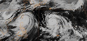 1982 Pacific typhoon season - Satellite image of Typhoons Andy (left) and Bess (right) at 1500 UTC on July 28.
