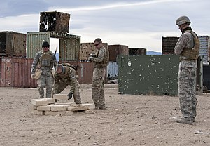 Conex box - A mix of ISO containers and old Conex boxes used for training purposes (Fort Carson, 2013).