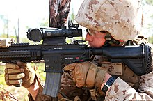 U.S. Marine Corps Lance Cpl. Isaac Hernandez, an assault rifleman with the 1st Platoon, Lima Company, 3rd Battalion, 3rd Marine Regiment, Marine Rotational Force-Darwin, sights in on his target with an M27 130522-M-AL626-0623.jpg