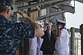 U.S. Sailors salute Secretary of the Navy Ray Mabus as he arrives aboard the guided missile cruiser USS Monterey (CG 61) May 16, 2013, at Khalifa Bin Salman Pier in Manama, Bahrain 130516-N-QL471-015.jpg