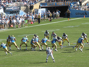 2009 UCLA Bruins football team - Quarterback Kevin Prince looks to pass during the Cal-UCLA game at the Rose Bowl