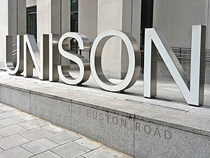 UNISON - UNISON sign outside their headquarters on Euston Road, London