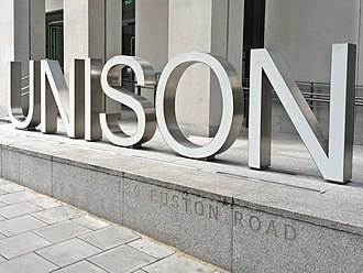 Unison (trade union) - UNISON sign outside their headquarters on Euston Road, London