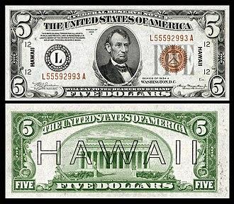 Hawaii overprint note - Image: US $5 FRN 1934 A Fr.2302