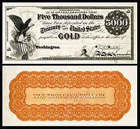$5,000 Gold Certificate, Series 1865, Fr.1166f, with a vignette of an eagle and shield (left) and justice (bottom center).