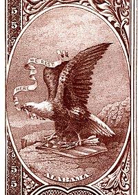 Alabama eyalet arması Ulusal Banknot serisi 1882BB ters
