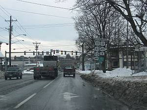 U.S. Route 11 in New York - US 11 joins NY 13 and NY 41 as it passes through downtown Cortland.