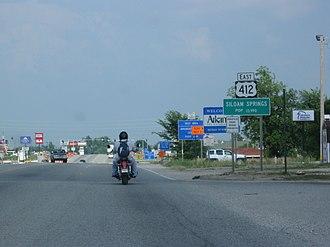 U.S. Route 412 - U.S. 412 as it enters Arkansas in Siloam Springs.