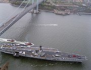 USS Forrestal (CV-59) under Verrazano-Narrows Bridge