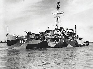 USS Joseph M. Auman (APD-117) off Orange, Texas (USA), on 30 April 1945