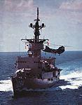 USS Pharris (FF-1094) with CH-46D of HC-6 c1977.jpg